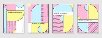 Pokrywa szablony ustawiający z modnymi geometrycznymi wzorami Obrazy Stock