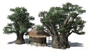 Pokrywająca strzechą buda wśród drzew - na białym tle Fotografia Stock