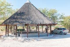 Pokrywający strzechą pykniczny punkt między Namutoni i Halali Fotografia Stock