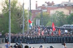A polícia cercou os protestadores em partes da oposição do russo Fotografia de Stock