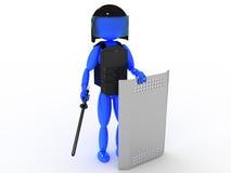 Polícia com uma moca #1 Imagens de Stock