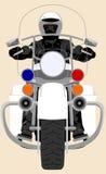 A polícia da cor patrulha a motocicleta pesada com ilustração isolada do vetor da opinião dianteira do polícia ilustração royalty free