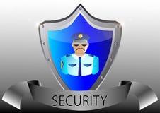 Polícia da segurança no uniforme e nos óculos de proteção   Foto de Stock