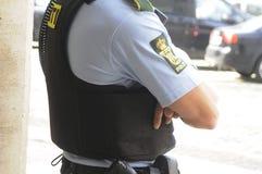 A POLÍCIA DE COPENHAGN GUARDA A CONFERÊNCIA DE IMPRENSA COMUM Imagens de Stock