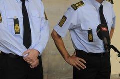 A POLÍCIA DE COPENHAGN GUARDA A CONFERÊNCIA DE IMPRENSA COMUM Fotos de Stock Royalty Free