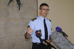 A POLÍCIA DE COPENHAGN GUARDA A CONFERÊNCIA DE IMPRENSA COMUM Fotografia de Stock Royalty Free