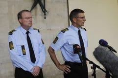 A POLÍCIA DE COPENHAGN GUARDA A CONFERÊNCIA DE IMPRENSA COMUM Foto de Stock Royalty Free