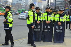 Polícia de motim de Seoul Imagens de Stock