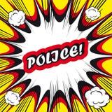 Polícia do fundo da banda desenhada! selo do escritório do pop art do cartão do sinal   Fotografia de Stock Royalty Free
