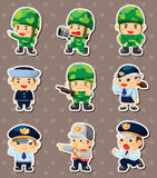 Polícia dos desenhos animados e etiquetas do soldado Fotografia de Stock