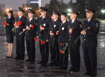 A polícia durante o ` patriótico da ação do todo-russo era amanhã o ` da guerra no monte de Poklonnaya Fotos de Stock