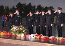 A polícia durante o ` patriótico da ação do todo-russo era amanhã o ` da guerra no monte de Poklonnaya Fotografia de Stock Royalty Free