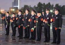 A polícia durante o ` patriótico da ação do todo-russo era amanhã o ` da guerra no monte de Poklonnaya Foto de Stock Royalty Free