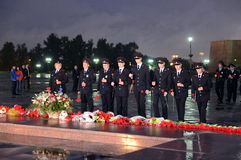A polícia durante o ` patriótico da ação do todo-russo era amanhã o ` da guerra no monte de Poklonnaya Imagem de Stock Royalty Free