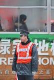 Polícia em uma manhã ealry, Hefei de Distessed, China imagens de stock