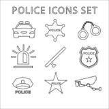 A polícia esboça os ícones ajustados Ilustração linear do vetor Imagens de Stock