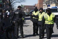 Polícia feliz, parada do dia de St Patrick, 2014, Boston sul, Massachusetts, EUA Fotografia de Stock
