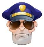 A polícia irritada média dos desenhos animados equipa a bobina nas máscaras Fotos de Stock