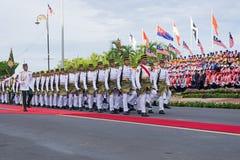 Polícia malaia real que marcha durante o Dia da Independência de Malásia Fotografia de Stock Royalty Free
