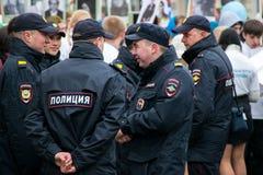 A polícia mantém a ordem na celebração Victory Day Fotografia de Stock