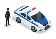 Polícia na ilustração do vetor dos ícones do dever e do carro ilustração stock