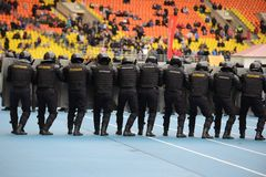 Polícia no estádio Fotografia de Stock Royalty Free