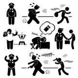 A polícia preguiçosa gorda grande apanha Cliparts Imagens de Stock Royalty Free