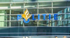 A polícia sedia na cidade de Amsterdão foto de stock
