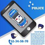 Polícia sob a forma de uma aplicação móvel Fotos de Stock Royalty Free