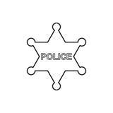 A polícia star o ícone do esboço Ilustração linear do vetor Fotografia de Stock