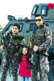 Polícia turca nas ruas de Istambul durante a situação militar no país fotografia de stock royalty free
