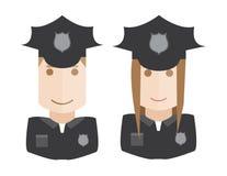 A polícia vector os avatars ajustados Imagens de Stock