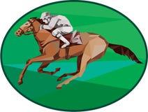 Polígono bajo de Horse Racing Oval del jinete stock de ilustración