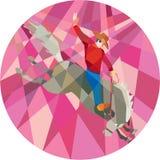 Polígono bajo de Riding Bucking Bronco del vaquero del rodeo ilustración del vector