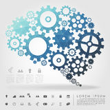 Polígono da engrenagem do cérebro com ícone do negócio ilustração royalty free