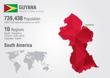 Polígono del mapa del mundo de Guyana con un modelo del diamante Fotos de archivo libres de regalías
