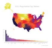 Polígono del vector del mapa de la población del color de los E.E.U.U. Imágenes de archivo libres de regalías