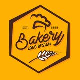 Polígono do projeto do logotipo da padaria ilustração stock