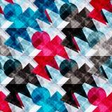 Polígono do vermelho azul e do preto em um teste padrão sem emenda geométrico do sumário claro do fundo Imagens de Stock