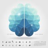 Polígono izquierdo y derecho del cerebro con el icono del negocio Imágenes de archivo libres de regalías