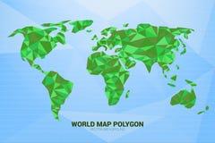 Polígono monótono verde del mapa del mundo en fondo azul: concepto de mundo digital, mundo futurista ilustración del vector
