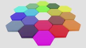 Polígonos giratorios en diversos colores almacen de video