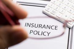 Política del seguro médico Imagen de archivo libre de regalías