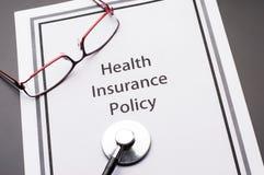Política del seguro médico Fotos de archivo libres de regalías