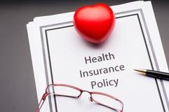 Política del seguro médico Imágenes de archivo libres de regalías