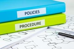 Políticas de empresa y procedimientos Imagen de archivo