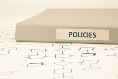 Políticas de negocio y procedimientos, tono de la sepia foto de archivo libre de regalías