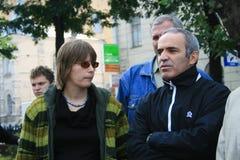 Políticas Marina Litvinovich y Garry Kasparov en imagenes de archivo