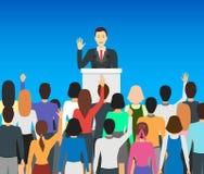 Político Card Poster del orador de la historieta Vector ilustración del vector