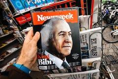 Político de Benjamin Netanyahu aka Bibi Israeli en la cubierta de Newsweek fotos de archivo
